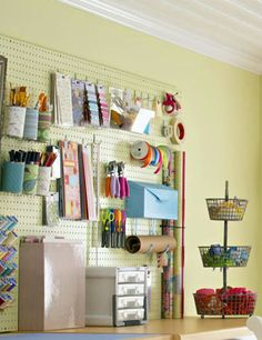 For easy access, stash fabric for current projects in tiered wire baskets on your cutting surface.