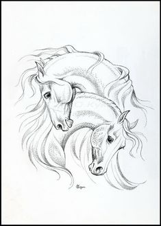 Loving hearts Horse Pencil Drawing, Horse Drawings, Animal Drawings, Pencil Drawings, Art Drawings, Arte Equina, Horse Sketch, Horse Coloring Pages, Horse Silhouette
