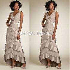 Aliexpress.com : Buy vestidos mae da noiva Custom Long Mother Of The Bride Dresses V neckline Sleeveless High Low Tiered Party Dresses for Womens from Reliable dress long party suppliers on bluesky gown | Alibaba Group