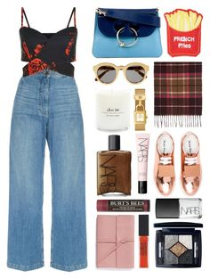 """""""5.448"""" by katrina-yeow ❤ liked on Polyvore featuring Tory Burch, STELLA McCARTNEY, J.W. Anderson, Cara, Acne Studios, Rachel Comey, NARS Cosmetics, Burt's Bees, Bynd Artisan and Maybelline"""