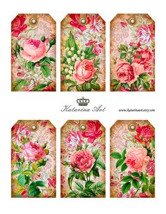 Shabby ROSES Tags. Digital Collage Sheet. Printable by KatarinaArt, $4.90