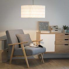 Hängeleuchte ohne elektrischen NORDIC aus Baumwolle, D 50 cm, weiß/grau
