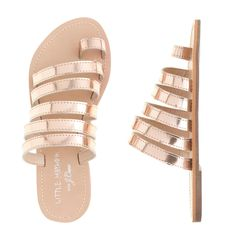 Adorable girls sandals from the new Little Mayhem for J.Crew collection. Rose gold or a fun orange.