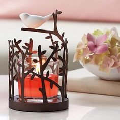 Song Bird Votive Holder - Sweet ceramic song bird picked the perfect place to land – on our branch-inspired cutwork metal holder. Includes glass cup for use with votives or tealights, sold separately. Votive Holder, Perfect Place, Tea Lights, Fragrance, Table Lamp, Online Outlet, Candles, Ceramics, Cutwork