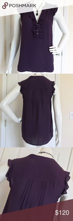 Theory Purple Silk Ruffle Button Dwn Blouse Top XS It's in excellent condition! 100% silk, 24 inches long in the front and 25 in the front. Theory Tops Blouses