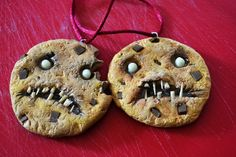 Zombie cookie polymer clay ornaments