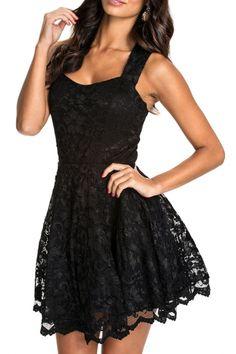 All Black Lace Party Skater Dress - OASAP.com