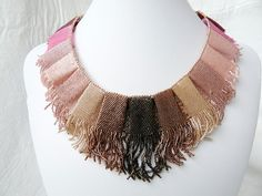 Ombre Purple Brown Seed Bead Pleated Necklace by tropicalkaren, $1150.00