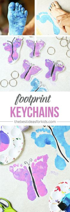 DIY Shrinky Dink Butterfly Footprint Keychains - these are SO CUTE! Perfect for Mother's Day or Father's Day!  Footprint crafts   Handprint crafts   Shrinky Dink ideas   DIY keychains  via @bestideaskids