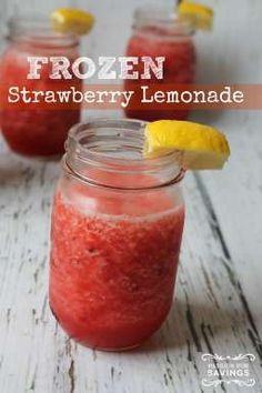 Frozen Strawberry Lemonade Recipe! I'm all about Frozen Summer Drinks and Strawberry Drink Recipes!