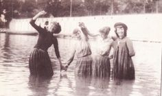 Turn-of-the-century swimsuits. This photo is from a Huffstader glass photo. Glass Photo, Swimsuits, River, Painting, Art, Art Background, Bathing Suits, Painting Art, Kunst