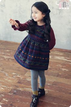 Folk Wooly Dress for girls 2-6. Cool kids fashion, play ready style at Color Me WHIMSY.