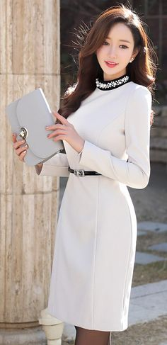 StyleOnme_Jeweled Round Neck Fitted Dress #winter #holidaylook #christmas #koreanfashion #white #jewel #dress #elegant #feminine #kstyle #seoul