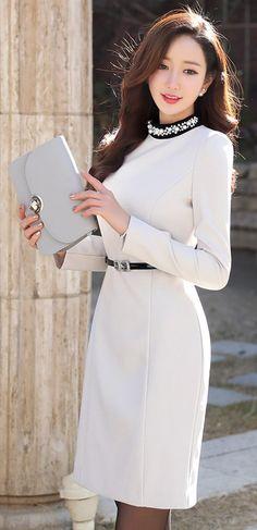 StyleOnme_Jeweled Round Neck Fitted Dress #winter #holidaylook #christmas #koreanfashion #white #jewel #dress #elegant #feminine #kstyle #seoul