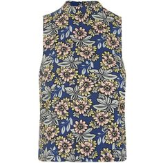 TOPSHOP PETITE '60s Daisy Print Shell Top ($65) ❤ liked on Polyvore featuring tops, topshop, blue, petite, topshop tops, retro tops, petite shell tops, petite tops and high neck top