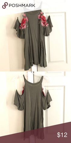 6b639bb5837ee7 Francesca s Olive Green Tank Olive Green cold shoulder top with floral  accents. Francesca s Collections Tops
