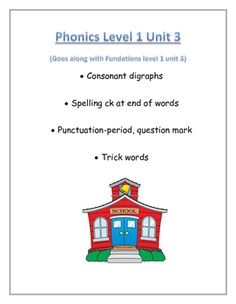 """Fundations level 1: digraphs and trick words- I hope you find this resource useful. Use it as seat work, morning work, homework, intervention, or just extra practice or """"finish early"""" work.You will find:-fill in the digraph to finish the word/match the picture-picture/word match-tap out and spell the word to match the picture-period or question mark activity-rainbow write trick words: read and spellThank you!"""