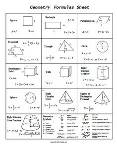 Free Printable Geometry Formulas Sheet, a very useful one page reference for students Geometry Classroom. Teachers and parents can print this Geometry Formula S Math Measurement, Math Vocabulary, Math Formula Sheet, Geometric Formulas, Algebra Formulas, Geometry Worksheets, Math Notes, Basic Math, Math Facts