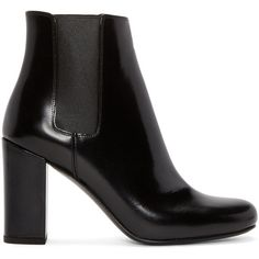 Saint Laurent Black Leather Babies Boots (4.785 VEF) ❤ liked on Polyvore featuring shoes, boots, shiny black boots, black leather shoes, ankle high boots, leather shoes and round toe boots