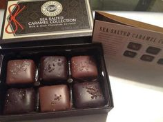 """""""Sea Salted Carmel Collection"""" luscious milk and dark chocolate chewy, buttery caramels accented with six exotic sea salts from all over the world!"""