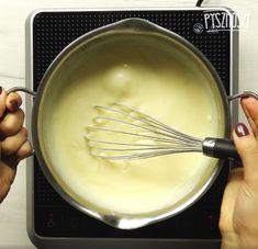 Zagotuj mleko i powoli zacznij dodawać wcześniej przygotowaną mieszankę. Gotuj przez chwilę, aż wszystkie składniki się połączą. Odłóż do ostudzenia. Kitchen, Cooking, Kitchens, Cuisine, Cucina