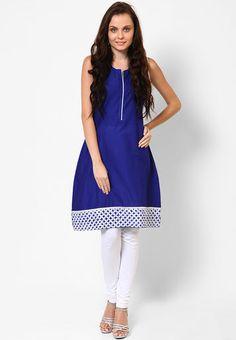Kira Sleeve Less Solid Blue Kurta - Buy Women Kurtas & Kurtis Online | KI666WA93HZYINDFAS