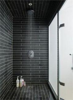 43 Stunning Black Shower Tiles Design Ideas For Bathroom - About-Ruth Bad Inspiration, Bathroom Inspiration, Bathroom Renos, Master Bathroom, Tile Bathrooms, Bathroom Black, Bathroom Modern, Small Bathroom, Shower Tile Designs