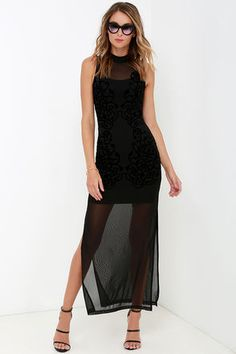 We didn't know it was possible to be as smitten with a dress as we are with the Mink Pink Meshed Up Black Maxi Dress! Stretchy mesh fabric forms a mock neck and semi-sheer decolletage. Swirling geometric designs, made of tantalizing velvet, decorate the fitted dress while the semi-sheer maxi skirt boasts high side slits.