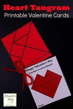 Heart Tangram Printable Valentine Cards: These fun cards give students a non-candy treat to give their friends. The tangram shapes attached to the card can be used to build the heart on the card and hundreds of other patterns. Valentines Day Activities, Valentines Day Party, Valentine Day Crafts, Valentine Cards, Happy Valentines Day, Valentine Heart, James Valentine, Homemade Valentines, Valentine Treats