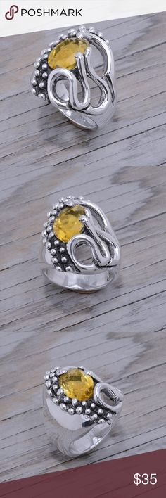 """‼️Clearance‼️ Citrine Ring (read below) Stone has scratches underneath and small cracks hence the clearance price. Stamped """"950"""". Higher Sterling finess than 925 This is not a stock photo. Stone has natural cracks and inclusions. The image is of the actual article that is being sold. Sterling silver is an alloy of silver containing 92.5% by mass of silver and 7.5% by mass of other mThe sterling silver standard has a minimum millesimal fineness of 925. Jewelry Rings"""
