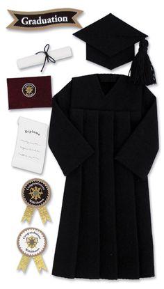 Jolee's Boutique Le Grande GRADUATION - BLACK CAP Dimensional Scrapbooking Stickers - Graduation Sticker Set