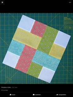 A ribbon look in patchwork. diaryofaquilter com patchwork Bilderesultat for Easy Square Quilt Block Patterns very simple quilt block made of squares and rectangles. How about a plaid quilt? woven square quilt block For 12 inch finished block: Four white s Patchwork Quilt, Jellyroll Quilts, Scrappy Quilts, Plaid Quilt, Amish Quilts, Quilting Tutorials, Quilting Projects, Quilting Designs, Sewing Projects