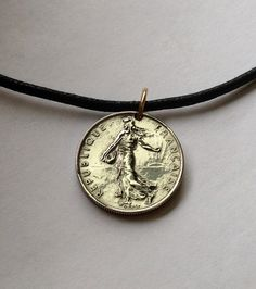 1965 thru 1996 France 1/2 franc coin pendant necklace French republic Sower lady and the seed woman Marianne liberty allegory No.000147 by acnyCOINJEWELRY on Etsy