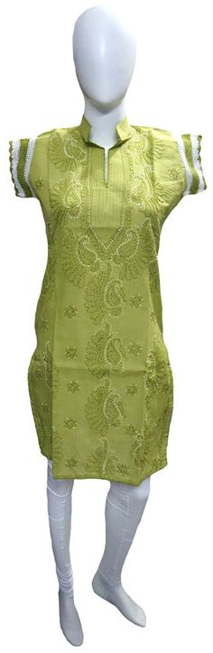 Self Design Lucknowi Chikankari Kurti List price: Rs1090   Rs499 You save: Rs591 (54%)  Specifications . Fabric: 100% Cotton . Self Design Chikankari . Color : Green . Sleeve : Half