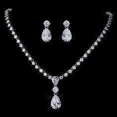 Crystal Teardrop Bridal Jewelry Set
