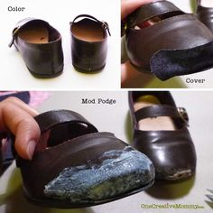 DIY Shoe Repair -- How to Repair Shoes {Don't throw out your little girl's scuffed shoes, give them a new life with glitter and Mod Podge!} OneCreativeMommy.com
