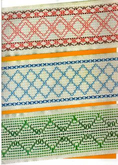 Top and middle - Doubled Swedish Embroidery, Types Of Embroidery, Diy Embroidery, Huck Towels, Swedish Weaving Patterns, Monks Cloth, Weaving Designs, Cross Stitching, Needlepoint