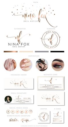Rose Gold Lash Logo Design Nail Extension Logo Makeup Logo