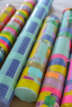 love these rainsticks. such a cute use of washi tape and recycled materials.