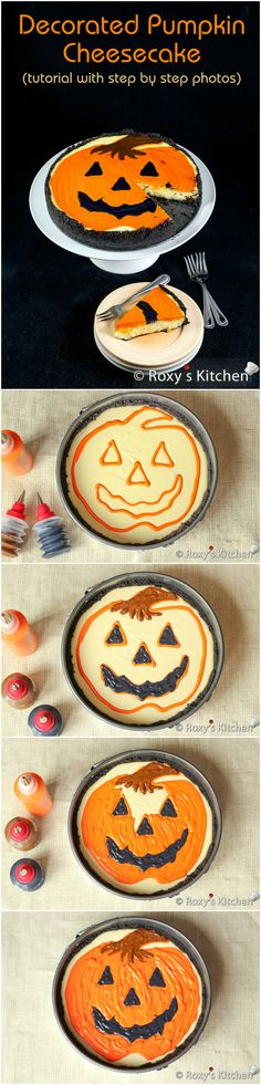 Decorated Pumpkin Cheesecake (tutorial with step by step photos) - Decorating technique is easier than you might think! Colour some of the batter and pipe away! #Halloween #Thanksgiving #Fall Jack O' Lantern