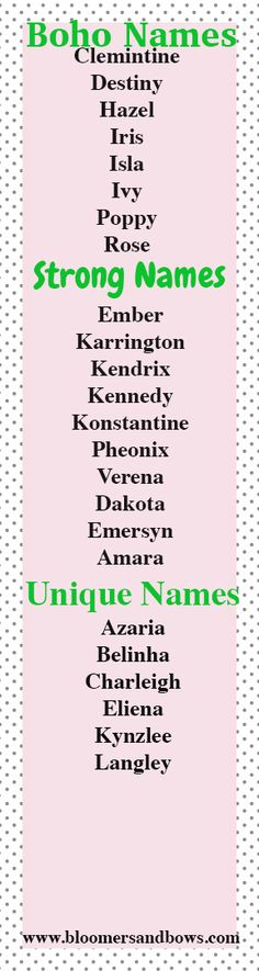 Boho Baby Girl Names, Strong Baby girl Names, and Unique Baby Girl Names. Bloomers and Bows. www.bloomersandbows.com