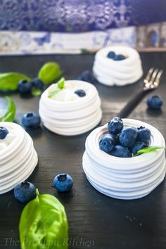 Delicate & Sublime Meringues with Blueberries, Cream, & Basil Syrup. #spicychat