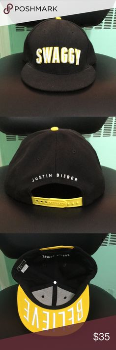 'swaggy' justin bieber snapback black and yellow embroidered 'swaggy' justin bieber believe snapback. bought at his believe tour concert. size 7-3/8in (58.7 cm). adjustable strap (as pictured). 'believe' embroidered on inside of bill. Accessories Hats