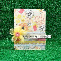 Card stock: Neenah  Patterned Paper: Sassafras, Amy Tangerine, American Crafts  Stamps: Lawn Fawn (Many Thanks)  Ink: Jenni Bowlin, Distress Ink  Etc: Sassafras sticker, Making Memories flower, My Mind's Eye button, twine, washi tape, foam ink blending tool, corner chomper
