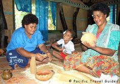 fiji people making pottery - we bought a vase from Lydia.