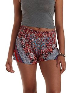 Scarf Print High-Waisted Shorts: Charlotte Russe #highwaisted #shorts