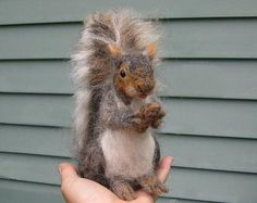 Needle Felted Squirrel Large Sculpture by Fiber by GourmetFelted, $300.00