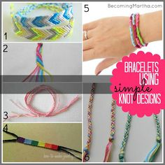 Friendship Embroidery Bracelets Becoming Martha: 1 Supply, 20 Friendship Bracelet Tutorials - Friendship Bracelets Tutorial, Friendship Bracelet Patterns, Bracelet Tutorial, Cute Crafts, Crafts To Do, Arts And Crafts, Diy Crafts, Embroidery Floss Bracelets, Embroidery Floss Crafts