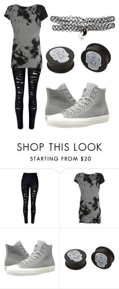 """Untitled #435"" by xxghostlygracexx ❤ liked on Polyvore featuring WithChic, Converse and KAOS"