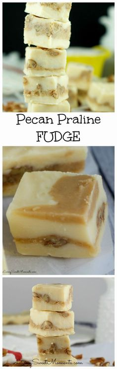 Soft, chewy and delicious, this easy to make pecan praline fudge recipe will melt in your mouth. The perfect gluten-free no-bake dessert for any occasion.